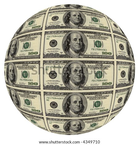 Sphere from hundred dollar denominations. - stock photo