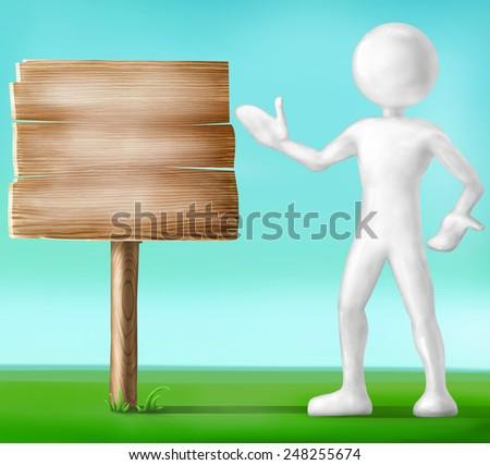Sphere-head guy and billboard - stock photo