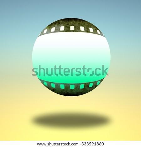 Sphere icon with film strip borders - stock photo