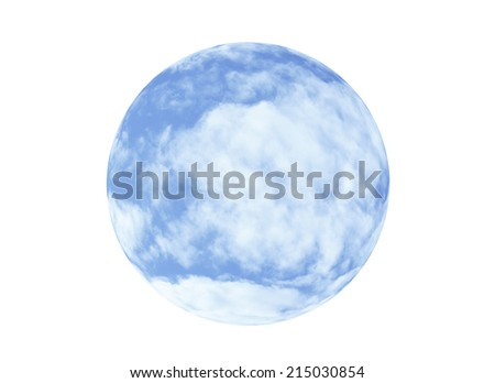 Sphere of sky and clouds isolated on a white background - stock photo