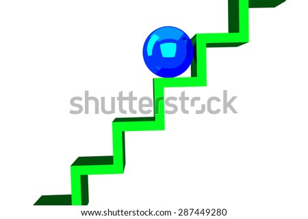 Sphere on the stairs - stock photo