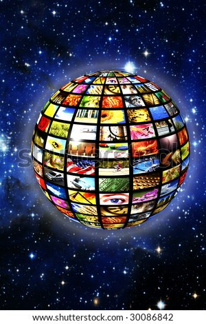 sphere with many television screens with a starred background, illustration for digital television