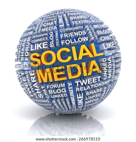Sphere with words related to social media, 3d render, with clipping path - stock photo