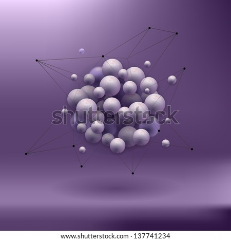 spheres abstract background . molecular structure . rasterized/bitmap version - stock photo