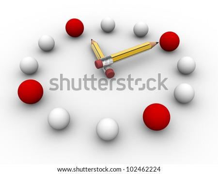 Spheres arranged in the shape of the clock. The concept of strategy and innovation. - stock photo