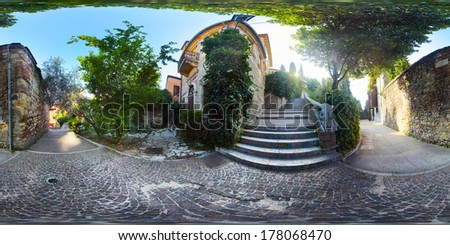 Spherical, 360 degrees panorama of the green yard in the city of Verona, Italy - stock photo