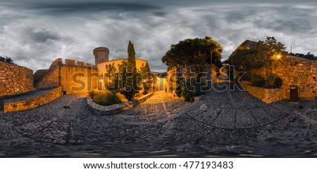 Spherical, 360 degrees, seamless panorama of the narrow streets in the city of Tossa de Mar at sunrise. Spain