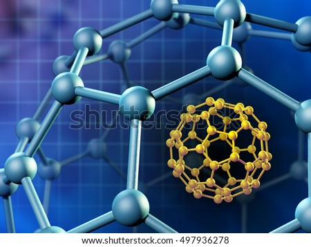Spherical fullerene molecule. 3D illustration.