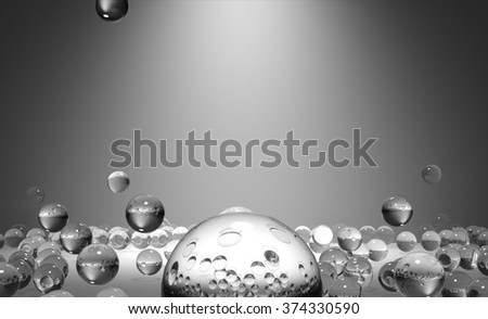 Spherical glass elements scattered on the surface. 3D abstract background. - stock photo