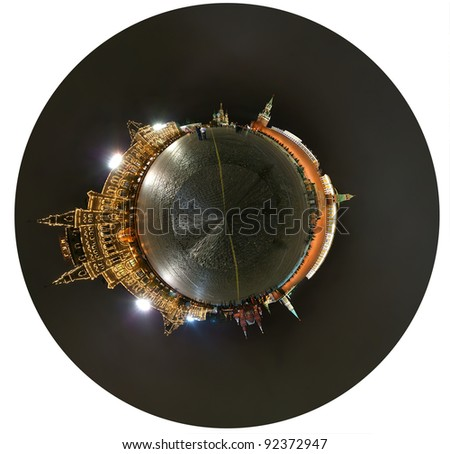 Spherical panorama of the night Red square. Moscow, Russia - stock photo