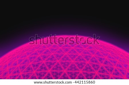 Spherical pink grid on black background