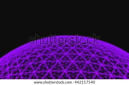 Spherical purple grid on black background