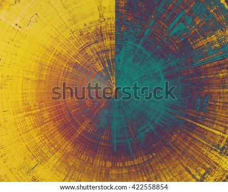 Spherical retro texture used as abstract grunge background. Shabby backdrop with different color patterns: yellow (beige); brown; blue; purple (violet) - stock photo