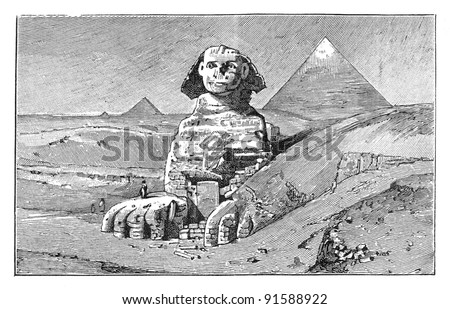 Sphinx and Giza pyramids - Cairo (Egypt) - Vintage illustration / illustration from Meyers Konversations-Lexikon 1897 - stock photo