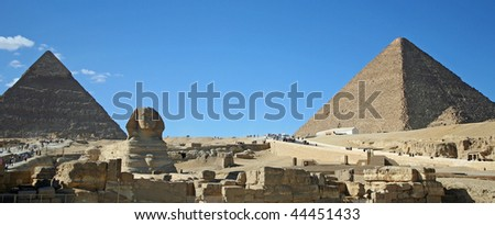 Sphinx and Pyramids - stock photo