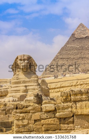Sphinx and the Great Pyramid in the Egypt - stock photo