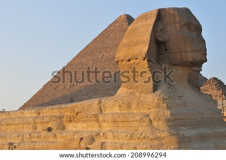 Sphinx and the great pyramids,Cairo, Egypt - stock photo