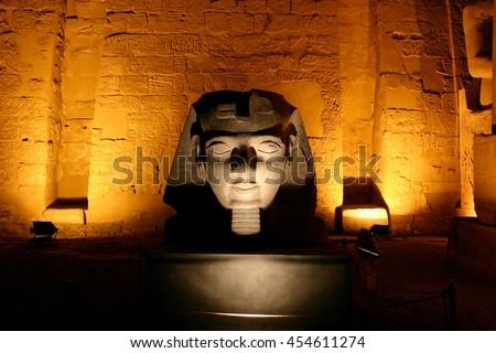 Sphinx before obelisk. Karnak temple, Egypt.  - stock photo