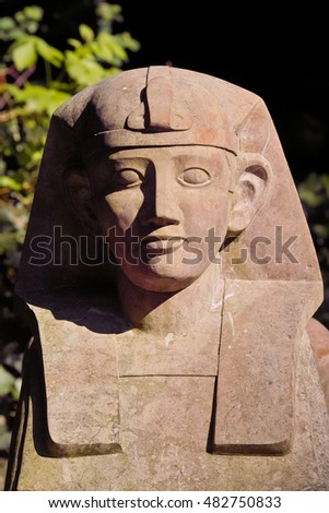 Sphinx Garden Sculpture, Berchtesgardener Marmor. Mythical Creature With  The Head Of A Human And