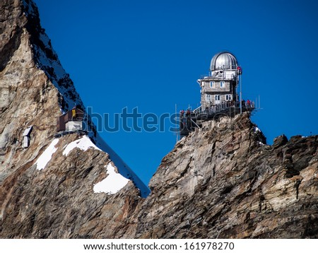 Sphinx high altitude observatory in Jungfraujoch pass in Switzerland - stock photo