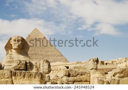 Sphinx & Khafre Pyramid - Egypt - stock photo
