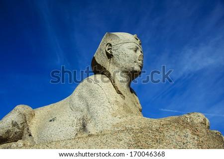 sphinx of Pompey's Pillar area in Alexandria - stock photo