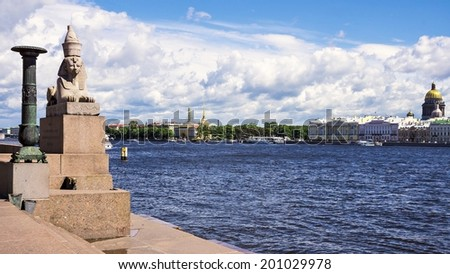 sphinx on the Neva River, St. Petersburg, Russia - stock photo