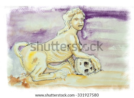 Sphinx the Ancient Greek myth, head of a woman with a lion body watercolor - stock photo