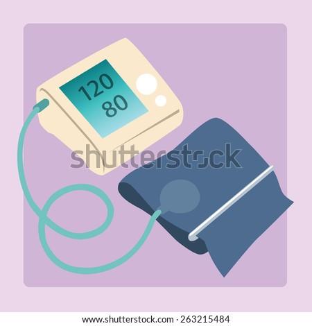 Sphygmomanometer measures blood pressure readings of 120 80 medical device - stock photo