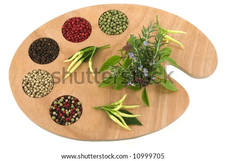 Spice and herb palette ready for the master chef to create new culinary delights. (variety of peppercorns and herbs on artist's palette) - stock photo