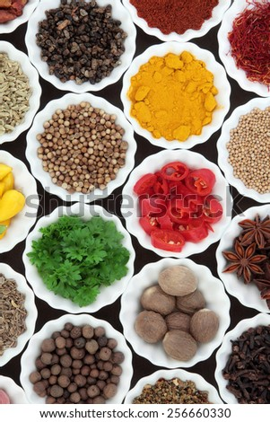 Spice and herb selection in porcelain crinkle bowls. - stock photo