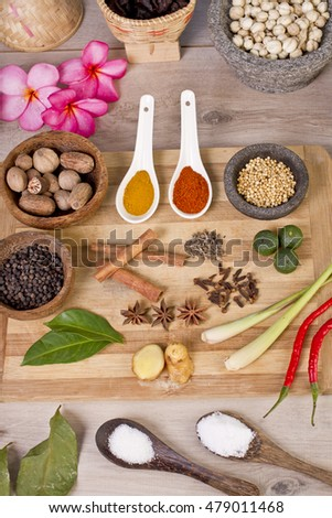 spice and herbs, food ingredients and seasoning