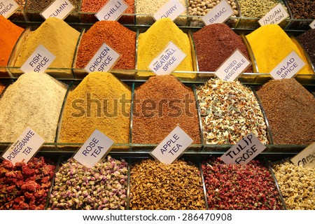 Spice Baskets at Bazaar in Istanbul. Turkey - stock photo