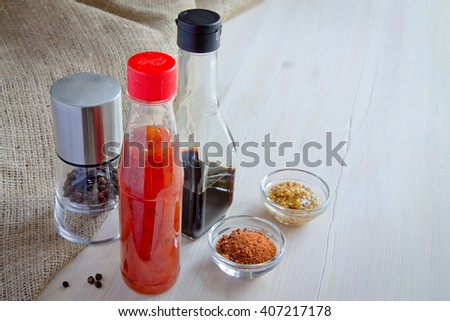 Spice. Chili, pepper and soy sauce - stock photo