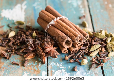 Spice collection with cardamom, cinnamon, cloves, star anis