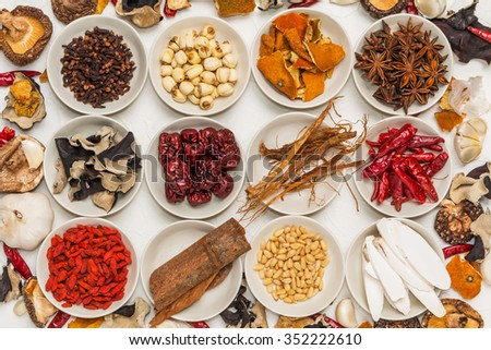 Spice dishes prepared with medicinal herbs Chinese medicine - stock photo