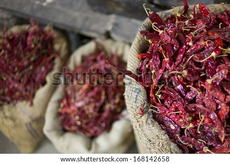 Spice in spice market in Jodpur, India - stock photo