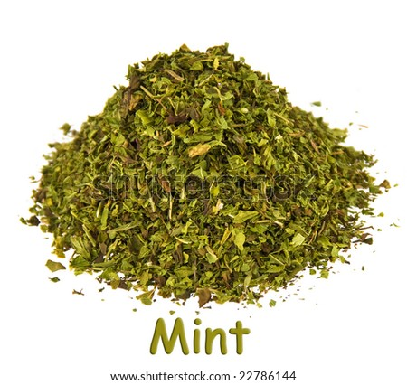 Spice - mint on a white background. - stock photo