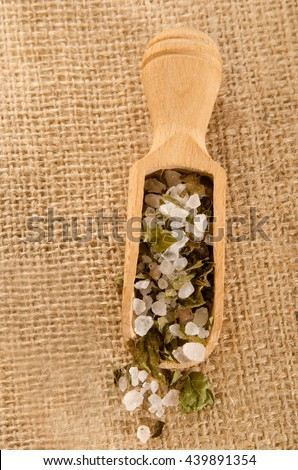 spice mixture of coarse sea salt and crushed mint - stock photo