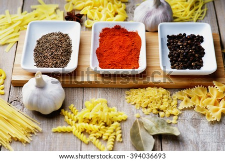 Spice, pasta and garlic