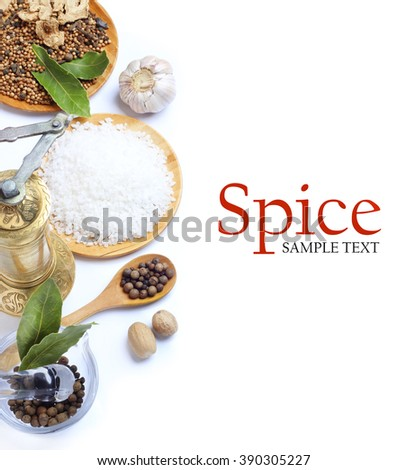 Spice pepper garlic salt Bay leaf in Wooden Spoon isolated white background