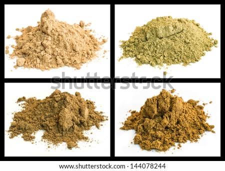 spice powder of cumin, galangal root, kummel, nutmeg - stock photo