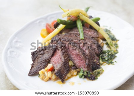 Spice rubbed skirt steak with summer corn succotash, gigante beans ...