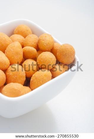 Spiced coated fried peanut. - stock photo