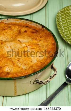 Spiced Lamb Pie with Chickpea Potato Mash - stock photo