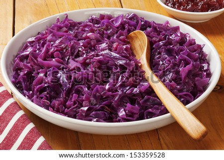Spiced red cabbage with apple.  - stock photo