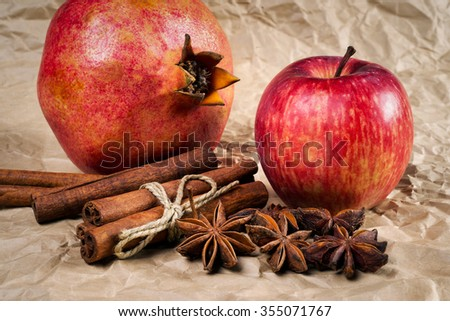 spices and fruits on paper background