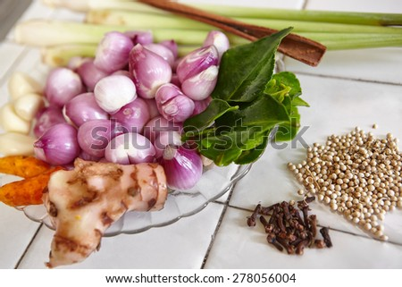 Spices and herb for cooking ingredient - stock photo