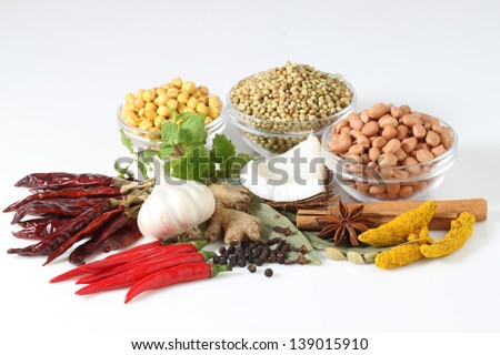 Spices and herbs . Food and cuisine ingredients. - stock photo