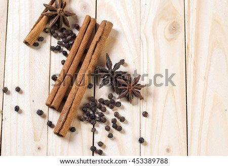 Spices and herbs. Food and cuisine ingredients on wooden background